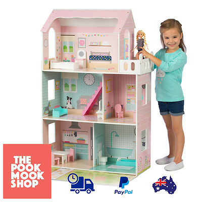 Pink Traditional Dollhouse Kids Toy Playhouse Girls Miniature House Play Pretend