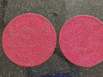 """TWO KIM SEYBERT 15"""" RED Beaded PLACEMATS  Paisley  HANDCRAFTED  NEW  Round 15"""""""