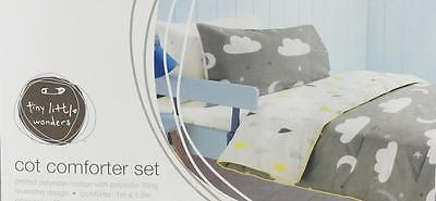 Cot Comforter Set Toddler Bed Quilt Clouds Moon & Stars Cot Quilt Set
