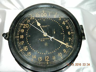 Chelsea Military Ship Wardroom Silo 24 Hour Clock - Works Great - Key Wind - 9""