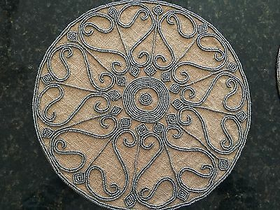 """Set of FOUR LEILA'S  Jute with Silver Beads -  Beaded PLACEMATS  NEW  Round 15"""""""