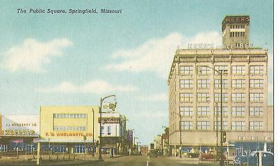 Vintage Linen Postcard The Public Square Springfield Missouri Showing Woolworth