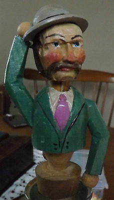 Vintage Carved Wood Mechanical Bottle Stopper. Tips His Hat. Rare Condition!!