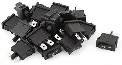 Uxcell A15062200ux0807 SPST ON/OFF Micro Black Boat Rocker Switch, AC 250V/6 20