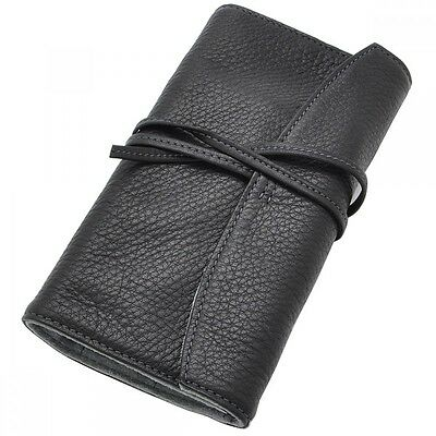 New PILOT  Leather Fountain Pen Case Black for 5 pens Roll up type