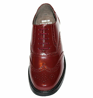 MENS US SIZE 7-11 GENUINE CALF LEATHER BURGUNDY BROGUES With RUBBER SOLE