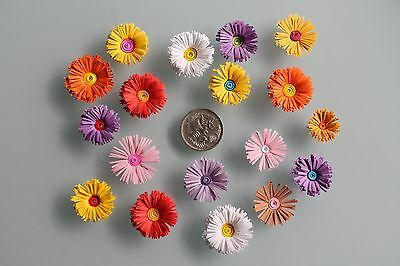 Mixed Colours Quilled Quilling Fringed Flowers