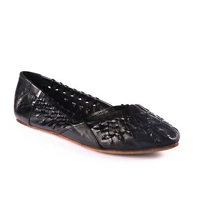 US 6-11 NEW GENUINE LEATHER WOMEN'S WOVEN FLATS- leather/Rubber sole