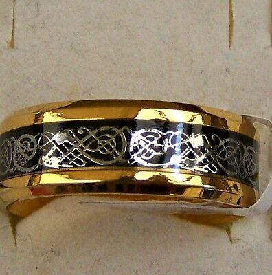 Celtic _ Dragon _  Black&gold ~ Size:8 ~ S/steel  ~ Ring ----- (Great_Gift)