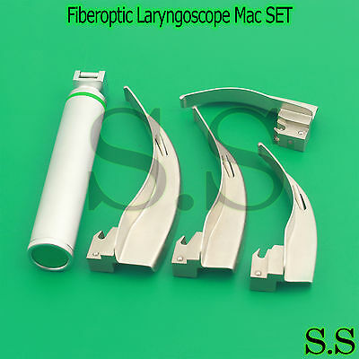 NEW Fiberoptic Laryngoscope Mac EMT Anesthesia Combo SET 4 BLADES 1 HANDLE