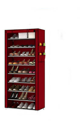 Wine Red Dust-Proof Non-Woven Steel Frame L60*W30*H160CM 9 Layers DIY Shoe Rack!