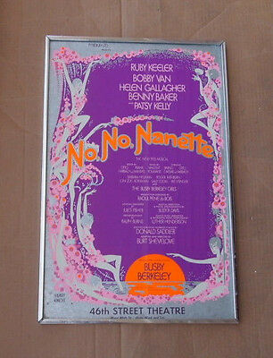 "1971 No, No Nanette 14"" X 22"" Window Card Poster Framed 46th Street Theatre NY"
