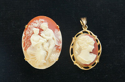 Italian Shell Cameo Set Pendant Top & Broach Vintage-style Free Shipping 790f22