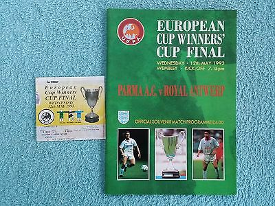 1993 - CUP WINNERS CUP FINAL PROGRAMME + MATCH TICKET - PARMA v ROYAL ANTWERP