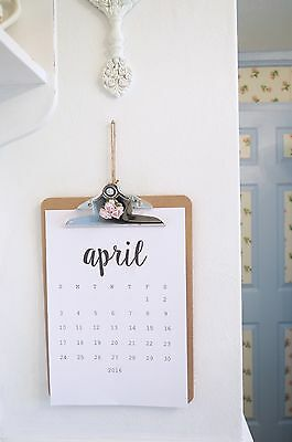 Vintage Shabby Chic Wooden Clipboard Calendar 2017 Monthly Rose Home Office