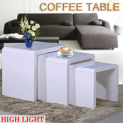 Nest of 3 High Gloss Tables Modern Wooden Display Side Coffee Hall Table Set