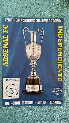 1989 - ARSENAL v INDEPENDIENTE PROGRAMME - ZDS CHALLENGE TROPHY - FLORIDA