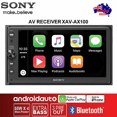 "Sony XAV-AX100 6.4"" Media receiver with Bluetooth Android Auto Apple CarPlay"