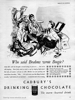 Authentic 1953 CADBURY'S DRINKING CHOCOLATE  Full Page Vintage Magazine Ad
