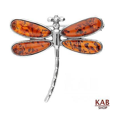 COGNAC BALTIC AMBER STERLING SILVER 925 JEWELLERY BROOCH DRAGONFLY. KAB-254 a.c