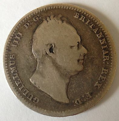 King William Iv 1834 One Shilling Coin .925 Sterling Silver Great Britain Uk