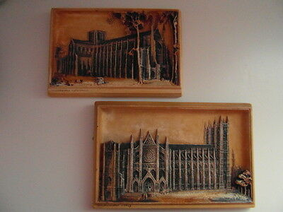 Vintage, Osborne, Ivorex, Wall Plaques, Westminster Abbey + Winchester Cathedral