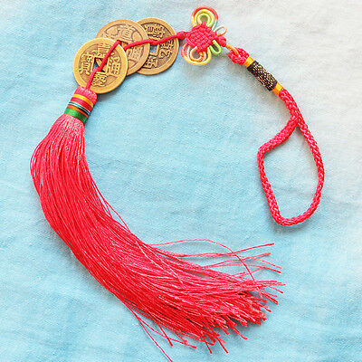 FENG SHUI FORTUNE 3 COIN Decoration  RED Hanging Chinese knot Good Luck Vogue