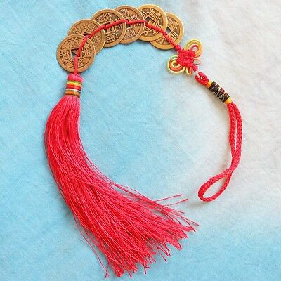 FENG SHUI FORTUNE 6 COIN Decoration  RED Hanging Chinese knot Good Luck Vogue