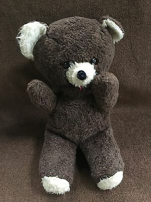 Vintage Stuffed Plush MUSICAL Brown Teddy Bear WIND UP 14 Inch