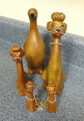 5 Vtg Pcs Of Ross Products Hong Kong Wood Look Figurines~ 4 Poodle Dogs & 1 Duck