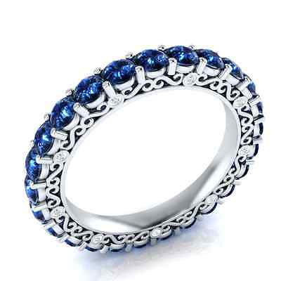 Elegant Women Round Cut Blue Sapphire 925 Silver Wedding Party Ring Size 6-10