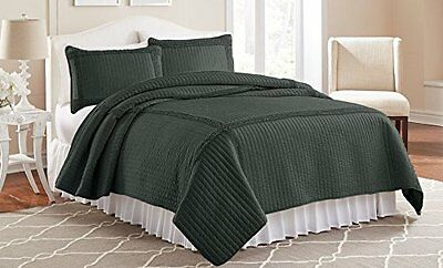 Amrapur d' oltremare cornice Ruffle Solid Quilt Set, Carbone, King, 3 pezzi
