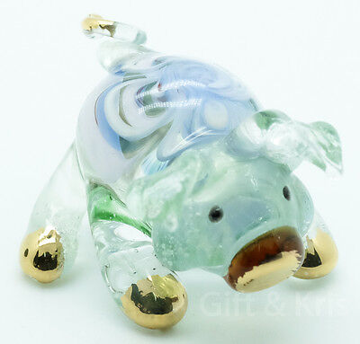 Figurine Animal Hand Blown Glass Pig No Painted w/ Painted Gold Trim - 004