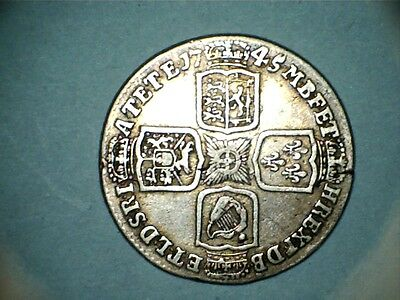 george 11 silver shilling lima.dated 1745 about very fine nice .