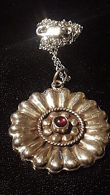 Beautiful Solid Silver & Garnet Antique Pendant + Silver Chain & FreeUKPP
