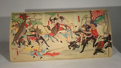 Antique Vintage Japanese Woodblock Print Triptych Russo Japanese War Signed Seal