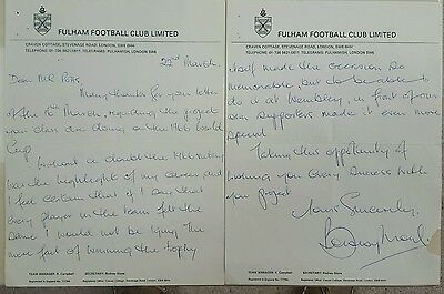 Sir Bobby Moore hand written and signed letter.