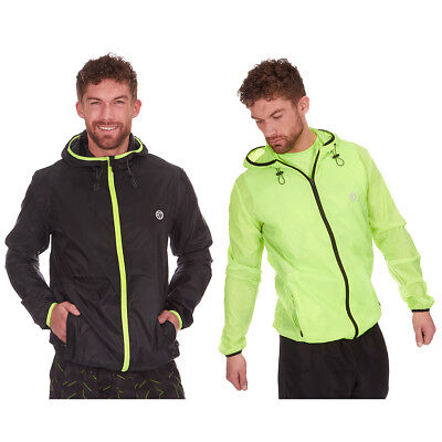 Mens Active Hooded Rain Jacket Hi-Viz Outdoor Kagool Hiking Running Lightweight