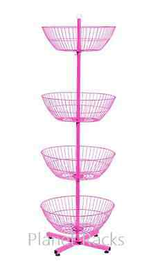 Planet Racks - Custom 4 Basket Revolving Floor Dump Bin Display - Hot Pink