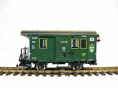 LGB 3019 - Combined Luggage and Post Wagon with Lights and Steel Wheels