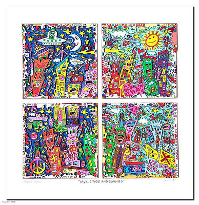 "James Rizzi 3D Bild ""N.Y.C. SINGS AND SWINGS "" NEU  Zertifikat; kleine Auflage !"