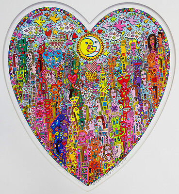"XXL Original 3D-Graphik James Rizzi ""Heart times in the city"" GERAHMT  NEU"