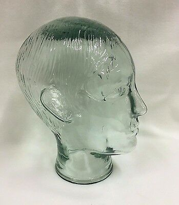 Vintage Glass Mannequin Head Green Glass Male Boy Wig Hat Glasses Display