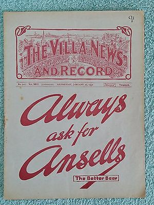 1932 - ASTON VILLA v PORTSMOUTH PROGRAMME - FA CUP 4th ROUND REPLAY