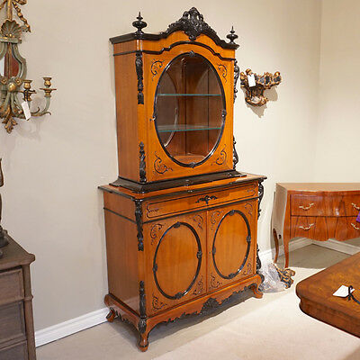 Mahogany Two Tone China Cabinet showcase with Glass door and LED lights