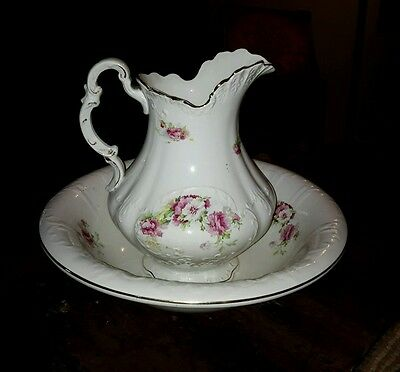 Gorgeous Victorian Wash Bowl & Pitcher Set With Flowers