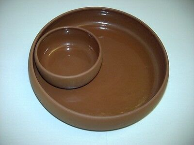 New Terra Cotta One Piece Large Chip & Dip Pottery Serving Bowl