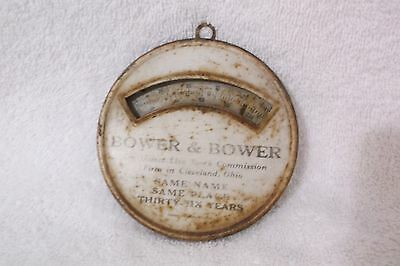 BOWER & BOWER Cleveland Ohio ANTIQUE Round THERMOMETER -Live Stock Commission