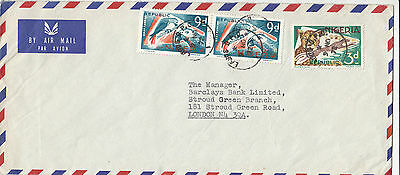 J 1505 Nigeria  Lagos 1972 airmail cover UK; 1/9d rate; 3 stamps parrot and +++