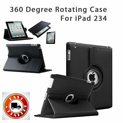 Leather 360 Degree Rotating Smart Case Cover For APPLE iPad 2 3 4 [B200
